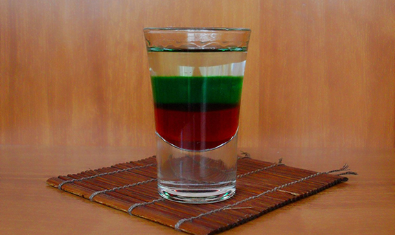 Cocktail Shot Bulgarian Flag recipe